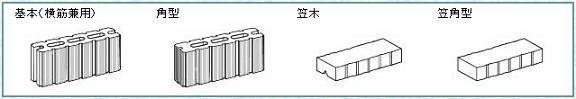 組積工事(ラインブロック)の形状一覧